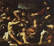 Giovanni Francesco  Guercino The Raising of Lazarus oil painting artist