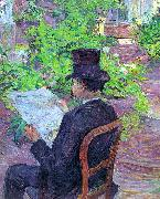 Henri  Toulouse-Lautrec Desire Dihau Reading a Newspaper in the Garden oil painting picture wholesale