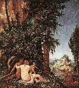 ALTDORFER, Albrecht Landscape with Satyr Family oil painting