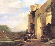 ASSELYN, Jan Italian Landscape with the Ruins of a Roman Bridge and Aqueduct cc oil painting