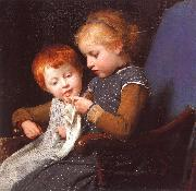 Albert Anker The Little Knitters oil painting