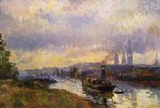 Albert Lebourg Tug Boats at Rouen oil painting