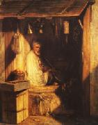 Turkish Merchant smoring in His shop