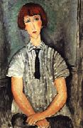 Yound Woman in a Striped Blouse