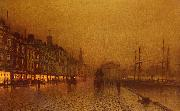 Atkinson Grimshaw Greenock Dock oil painting picture wholesale