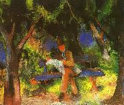 August Macke Man Reading in a Park oil painting picture wholesale