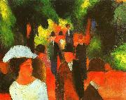 August Macke Promenade with Half Length of Girl in White oil painting picture wholesale