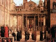 BASTIANI, Lazzaro The Relic of the Holy Cross is offered to the Scuola di S. Giovanni Evangelista oil painting