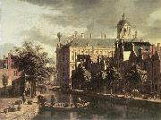 BERCKHEYDE, Gerrit Adriaensz. Amsterdam, the Nieuwezijds near the Bloemmarkt oil painting