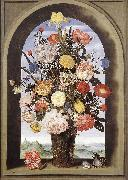 BOSSCHAERT, Ambrosius the Elder Bouquet in an Arched Window  yuyt oil painting