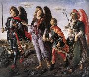 BOTTICINI, Francesco The Three Archangels with Tobias f oil painting