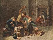 BROUWER, Adriaen Brawling Peasants oil painting