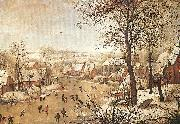 BRUEGHEL, Pieter the Younger Winter Landscape with a Bird-trap oil painting