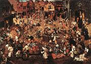 BRUEGHEL, Pieter the Younger Battle of Carnival and Lent f oil painting