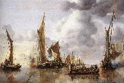CAPELLE, Jan van de The State Barge Saluted by the Home Fleet df oil painting