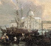 CARLEVARIS, Luca The Sea Custom House with San Giorgio Maggiore (detail) fg oil painting