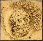 CARRACCI, Agostino Head of a Faun in a Concave (roundel) dsf oil painting