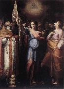 CAVAROZZI, Bartolomeo St Ursula and Her Companions with Pope Ciriacus and St Catherine of Alexandria g oil painting