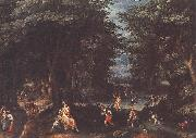 CONINXLOO, Gillis van Landscape with Leto and Peasants of Lykia fsg oil painting