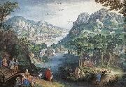 CONINXLOO, Gillis van Mountain Landscape with River Valley and the Prophet Hosea dsg oil painting