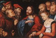 CRANACH, Lucas the Elder Christ and the Adulteress fgh oil painting picture wholesale