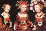 CRANACH, Lucas the Elder Saxon Princesses Sibylla, Emilia and Sidonia dfg oil painting reproduction