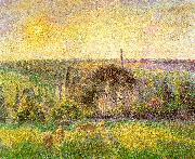 Camille Pissaro Countryside and Eragny Church and Farm oil painting
