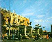 Canaletto Capriccio, The Horses of San Marco in the Piazzetta oil painting