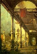 Canaletto Capriccio, A Colonnade opening onto the Courtyard of a Palace oil painting