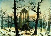 Caspar David Friedrich Cloister Cemetery in the Snow oil painting