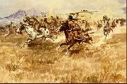 Charles M Russell Fight Between the Black Feet oil painting picture wholesale