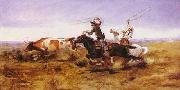Charles M Russell O.H.Cowboys Roping a Steer oil painting reproduction