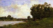 Charles-Francois Daubigny Cattle on the Bank of a River oil painting picture wholesale
