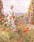 Childe Hassam Celia Thaxter in her Garden oil painting