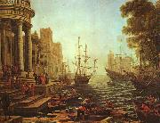 Claude Lorrain Seaport : The Embarkation of St.Ursula oil painting artist