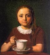 Constantin Hansen Little Girl with a Cup oil painting