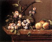 DUPUYS, Pierre Plums and Peaches on a Table dfg oil painting