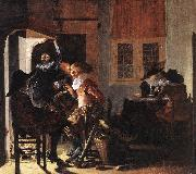 DUYSTER, Willem Cornelisz. Soldiers beside a Fireplace sg oil painting artist