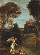 Domenichino Landscape with Tobias Laying Hold of the Fish oil painting