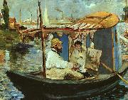 Edouard Manet Claude Monet Working on his Boat in Argenteuil oil painting reproduction