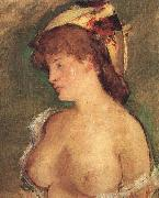 Blond Woman with Bare Breasts