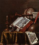 Still Life with Musical Instruments, Plutarch's Lives a Celestial Globe