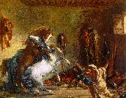 Eugene Delacroix Arab Horses Fighting in a Stable oil painting picture wholesale