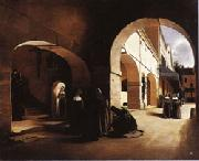 Francois Bonvin The Ave Maria;Interior of a Convent at Aramont,Verberie(Oise) oil painting artist