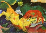 Franz Marc Cows, Yellow, Red, Green oil painting