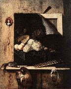 GIJBRECHTS, Cornelis Still-Life with Self-Portrait fgh oil painting