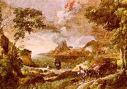 Gaspard Dughet Landscape with St.Augustine and the Mystery of the Trinity oil painting