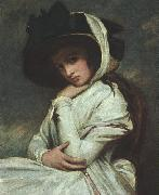 George Romney Lady Hamilton in a Straw Hat oil painting