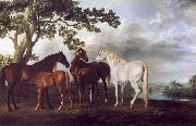 George Stubbs Mares and Foals in a Landscape oil painting