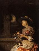 Godfried Schalcken Young Woman Weaving a Garland oil painting